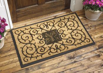 Monogrammed Medallion Rubber Backed Coir Doormat Door