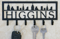 Personalized Cityscape Key Rack