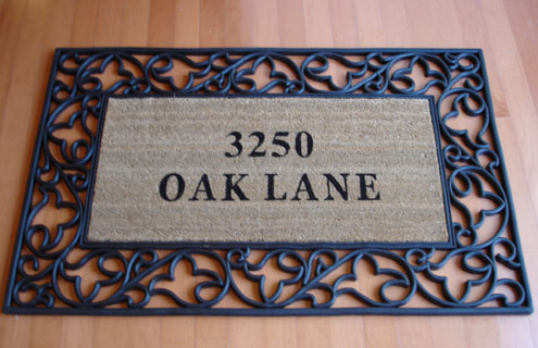 Personalized Acanthus Rubber Border Coir Doormats