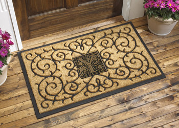 Rubber Backed Coir Doormat With Monogrammed Aluminium Medallion